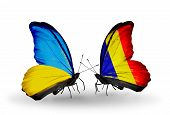 Two Butterflies With Flags On Wings As Symbol Of Relations Ukraine And Chad, Romania