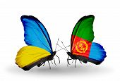 Two Butterflies With Flags On Wings As Symbol Of Relations Ukraine And Eritrea