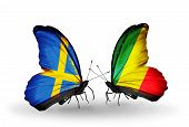 Two Butterflies With Flags On Wings As Symbol Of Relations Sweden And Kongo