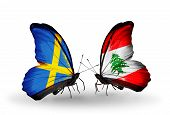 Two Butterflies With Flags On Wings As Symbol Of Relations Sweden And Lebanon