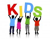 Kids Holding Text Vector