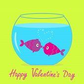 Two Kissing Fishes In The Aquarium. Happy Valentines Day Card.