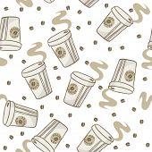coffee seamless pattern on white