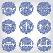 Vector isolated bridges big icons set