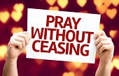 Pray Without Ceasing card with heart bokeh background