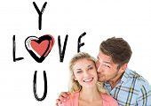 Handsome man kissing girlfriend on cheek against cute valentines message