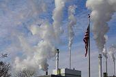 American Flag and Smokestacks