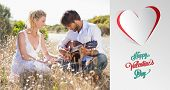 stock photo of serenade  - Handsome man serenading his girlfriend with guitar against cute valentines message - JPG