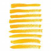 Yellow ink vector brush strokes