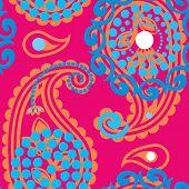 Magenta paisley pattern.