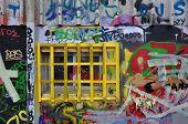 Barred Window Messy Graffiti
