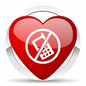no phone valentine icon no calls sign