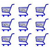 Blue Shopping Cart Icons With Discount Tags