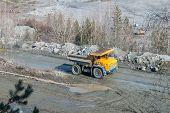 Big truck transport stone ore in career
