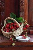 Fresh Strawberry In A Wattled Basket