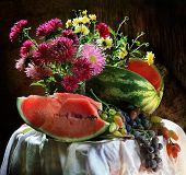 Still-life With A Water-melon And Grapes And A Bouquet Of Asters