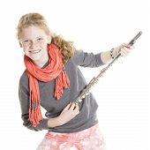 Young Girl With Red Hair And Freckles Holding Flute