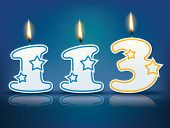 Birthday candle number 113 with flame - eps 10 vector illustration