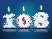 Birthday candle number 108 with flame - eps 10 vector illustration