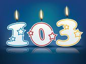 Birthday candle number 103 with flame - eps 10 vector illustration