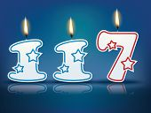 Birthday candle number 117 with flame - eps 10 vector illustration