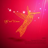 Gold lace colibri flying for dream