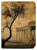 Stylization Photo Cityscape As A Retro Postcard