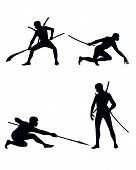 image of ninja  - Vector illustration of a four ninja set - JPG