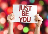 Just Be You card with colorful background with defocused lights