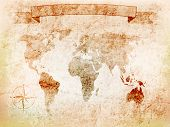 background world map on old wall with crack, the windrose, banner.vector illustration