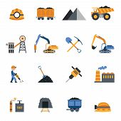 pic of machinery  - Coal industry metallurgy mine equipment and machinery icons set isolated vector illustration - JPG