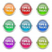 tips tricks icons set