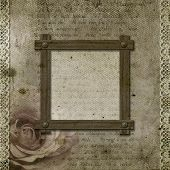 Vintage Background With Frames, Roses, Lace, Text I Love You, Hands Over Retro Paper