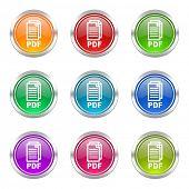 pdf icons set pdf file sign