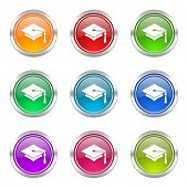 stock photo of toga  - education icons set graduation sign  - JPG