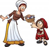 image of little red riding hood  - Little Red Riding hood getting a basket from her mother - JPG