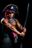 Muscular Man In A Pirate Costume.