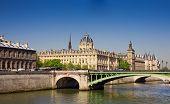 View Of Palais De Justice And A Bridge Over The Seine River. Paris, France.