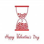 Love Hourglass With Hearts Inside. Happy Valentines Day Card.