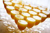 Fresh Orange Juice In High Glasses
