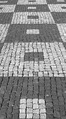 black and white square paving
