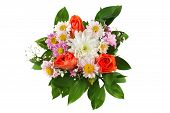 Colouful Bouquet Of Flowers Isolated On White Background