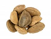 Heap Of Brazil Nuts Isolated On White