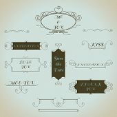 Hand-drawn vintage calligraphic design elements set