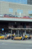 Many Taxis Near Entrance Of Barcelona Sants Terminal, Catalonia, Spain.
