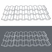 Tile element of roof. Eps10 vector illustration.