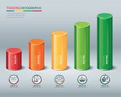 image of trade  - trading cylindrical bars infographic for web and print - JPG