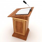 Wooden Rostrum Stand with Microphone  on a white background