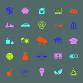 Sufficient Economy Color Icons On Gray Background