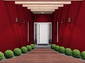 modern entry with white front door